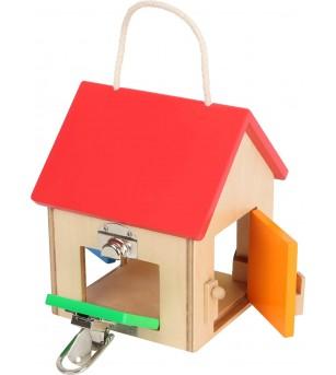 Casa mica din lemn cu incuietori Small Foot - Jucării de lemn si Montessori