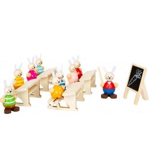 Set de joaca din lemn Legler Small Foot, Scoala iepurasilor - Jucării de lemn si Montessori