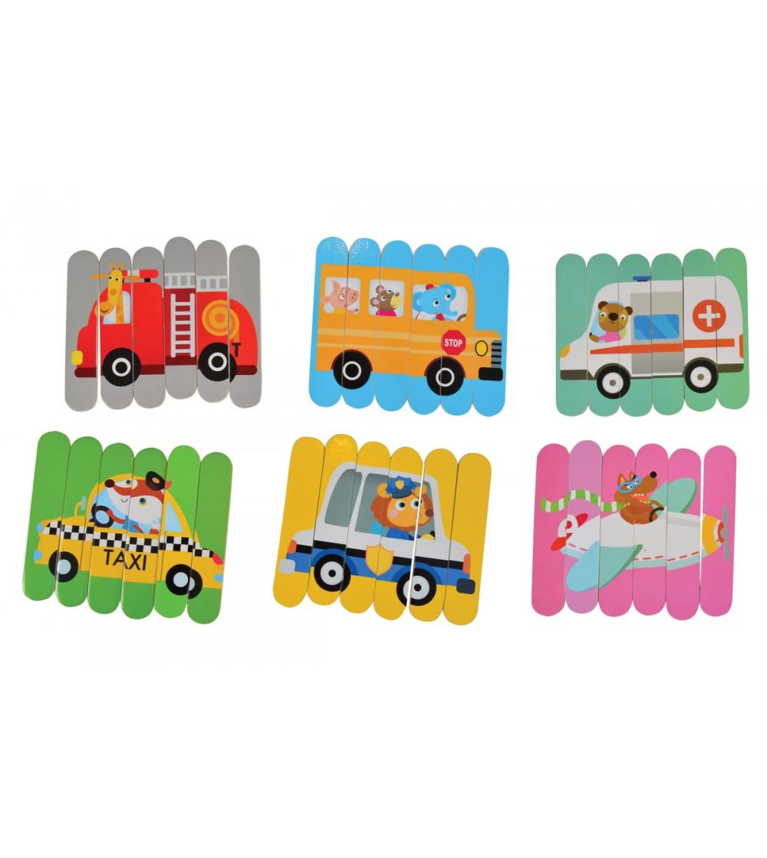 Puzzle bete Magni Toys, vehicule - Jucării de lemn si Montessori
