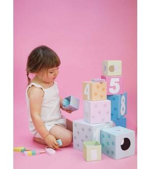 Cuburi de stivuit, JaBaDaBaDo - Jucării de lemn si Montessori