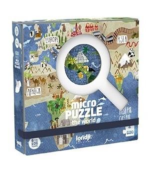Micro puzzle Londji-600 piese, continente - Puzzle-uri