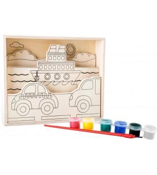 Set creativ din placaj de lemn Legler Small Foot, Vehicule si vapoare - Desen și pictură