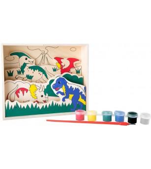 Set creativ din placaj de lemn Legler Small Foot, Dinozauri - Desen și pictură