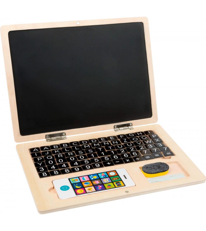 Laptop din lemn cu tabla magnetica, Legler Small Foot - Limbaj