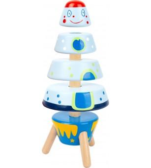 Turn de stivuit Legler Small Foot, Racheta - Jucării de lemn si Montessori