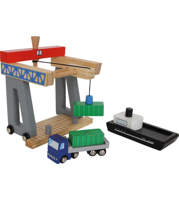 Set de joaca din lemn Legler, Terminal containere - Jucării de lemn si Montessori