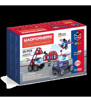 Set magnetic de construit Magformers, masini de interventie - Jucarii magnetice