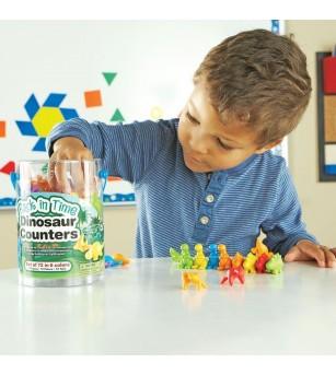 Set pentru sortat si numarat - Dinozauri jucausi (72 piese) - Jucării matematică