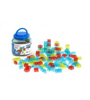 Joc de constructii Miniland cu 100 piese translucide - Jocuri construcție