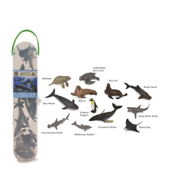 Cutie cu 12 minifigurine Collecta - Animale marine Set 1 - Figurine