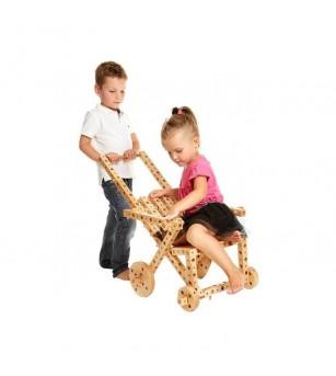 Set constructie mecanica din lemn Pony 02, 184 piese, Pony - Jocuri construcție