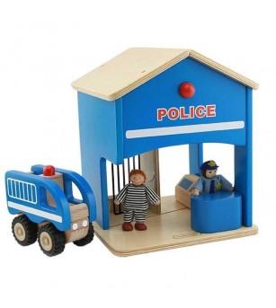 Statie de politie de jucarie, din lemn, Masterkidz - Seturi de pompier si politist