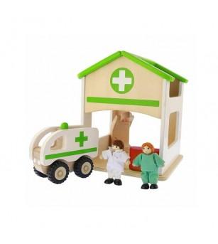 Spital de jucarie, din lemn, Masterkidz - Truse de medic pentru copii