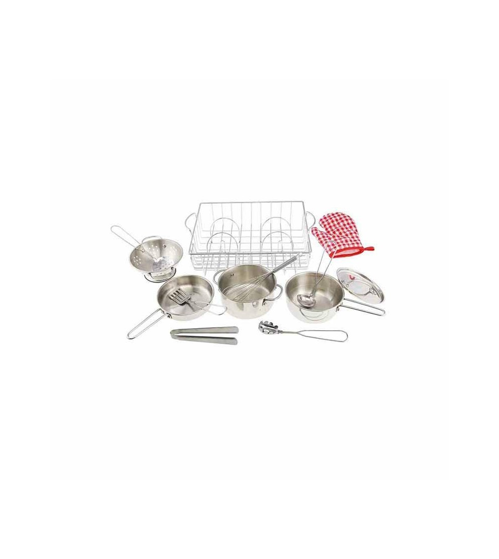 Set ustensile de bucatarie si vase de jucarie, din inox, Masterkidz - Bucătărie copii