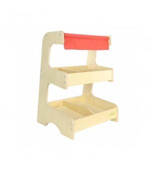 Raft magazin de jucarie, din lemn, Masterkidz - Case de marcat de jucarie si jucarii supermarket
