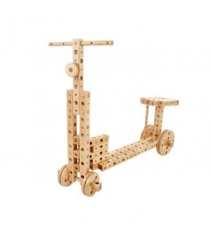 Set constructie mecanica din lemn Polytechnical Small, 224 piese, Pony - Jocuri construcție
