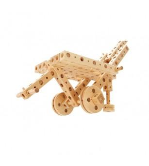Set constructie mecanica din lemn Polytechnical Large, 300 piese, Pony - Jocuri construcție
