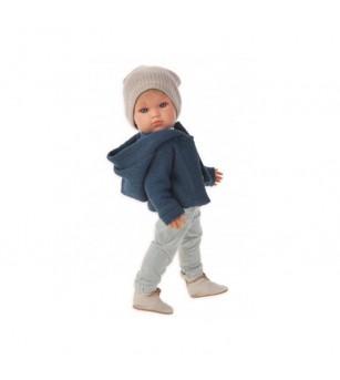 Papusa baietel Ben cochet la plimbare, bleumarin-gri, Antonio Juan - Papusi