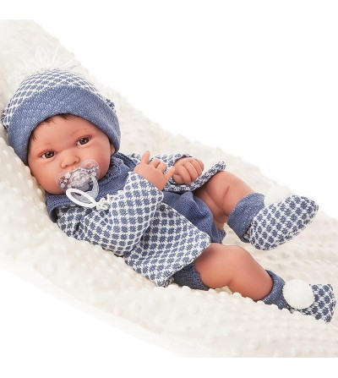 Papusa bebe realist Pipo cu salteluta pufoasa, corp anatomic corect, alb-albastru, Antonio Juan - Papusi