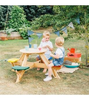 Masa de joaca din lemn cu scaune colorate pentru 4 copii Plum - Locuri de joacă