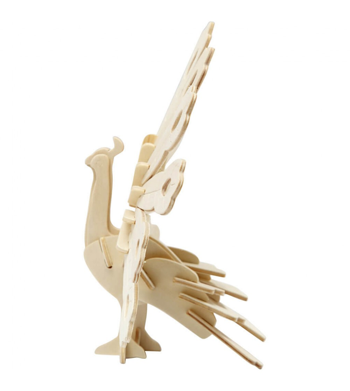 Kit 3D din placaj de lemn - Paun - Crafturi