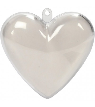 Set 10 globuri inima transparente pentru decorat, 6.5 cm - Crafturi