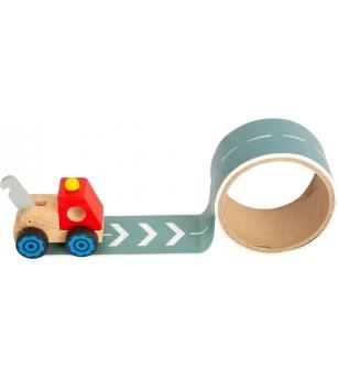 Camion din lemn Legler Small Foot, bandă adezivă pentru drum - Vehicule de jucărie