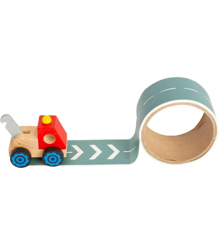 Camion din lemn si banda adeziva pentru drum, Legler Small Foot - Vehicule de jucărie