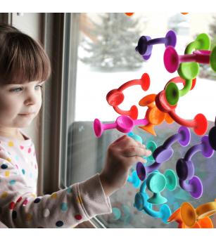 Joc de constructie Fat Brain Toys Squigz 36 piese - Jucării bebeluși