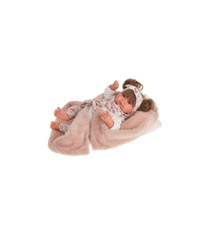 Papusa bebe realist Nica Reborn cu paturica, cu articulatii, roz, Antonio Juan - Papusi