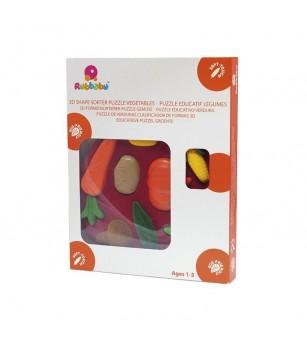 Jucarie sortator forme 3D din cauciuc natural Legumele, Rubbabu - Jucării bebeluși