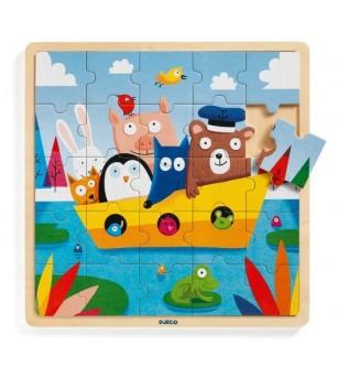 Puzzle lemn Djeco, Toti in barca - Puzzle-uri