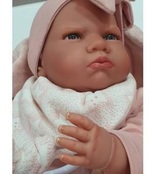 Papusa bebe realist Mi primer Reborn Berta Estrellas cu paturica, roz, Antonio Juan - Papusi