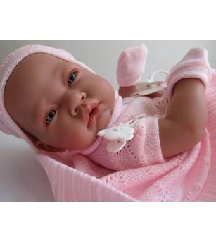 Papusa bebe realist Toqui-fetita Reborn cu paturica, cu articulatii, alb-roz, corp realist anatomic, Antonio Juan - Papusi