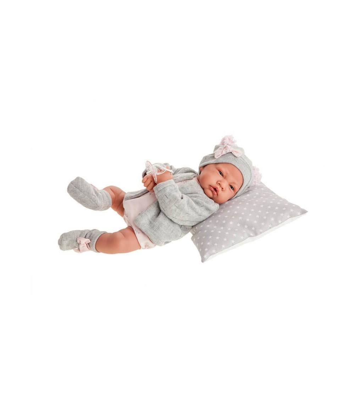 Papusa bebe realist Nacida Reborn cu pernuta, cu articulatii, gri, Antonio Juan - Papusi