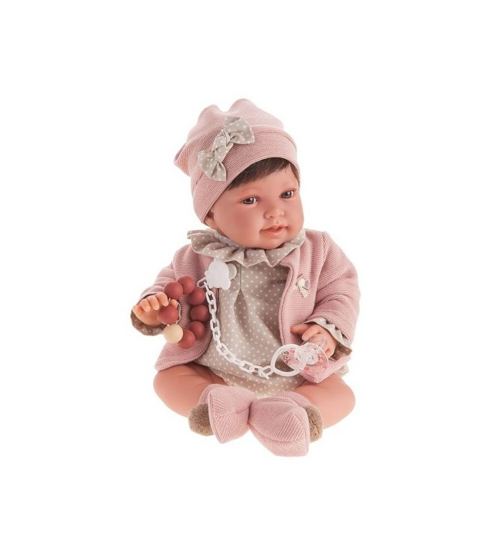Papusa fetita Pipa bruneta cu buline, roz pal-gri, Antonio Juan - Papusi