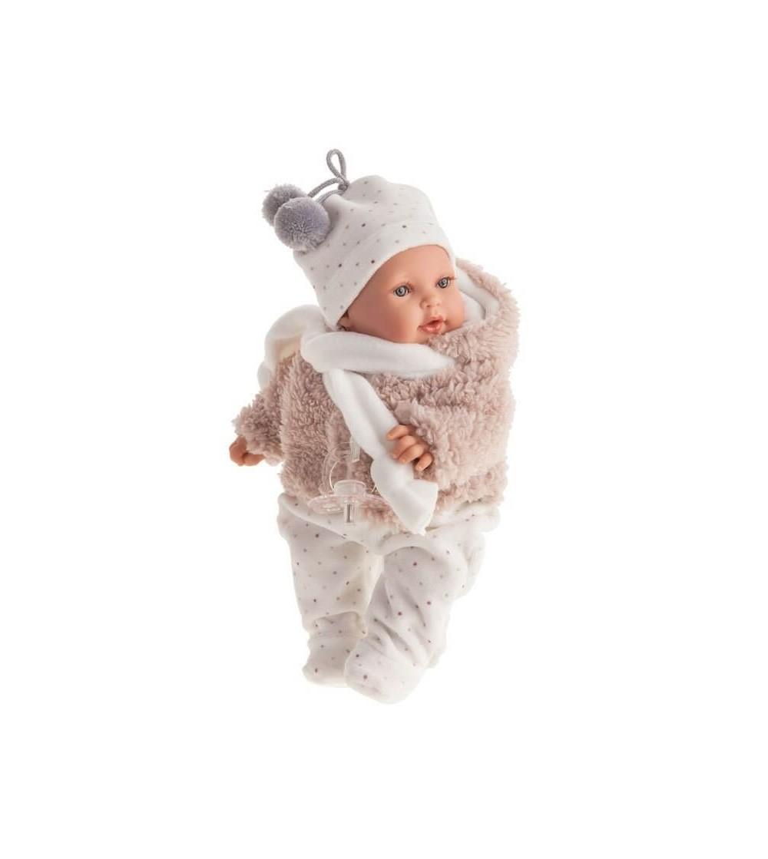 Papusa bebe realist mic Kika imbracat de iarna, cu sunet, bej-alb, Antonio Juan - Papusi