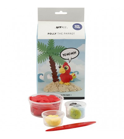 Kit papagalul Polly din plastilina Silk Clay - Crafturi