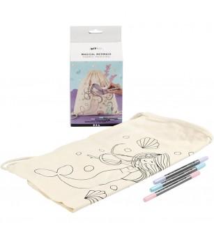 Set creativ rucsac panza pentru colorat si markere - model sirena - Crafturi