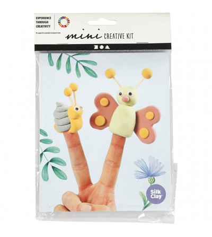 Mini kit creativ - Papusi pentru deget din plastilina Silk Clay - Crafturi