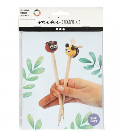 Mini kit creativ creione decorate cu plastilina Silk Clay - insecte - Crafturi
