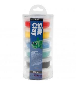 Set plastilina moale Silk Clay 6 culori de baza - Crafturi