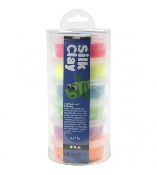Set plastilina moale Silk Clay 6 culori neon - Crafturi