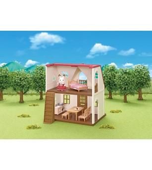 Sylvanian Families 5303 - Casuta cu acoperis rosu si figurina iepuras - Figurine