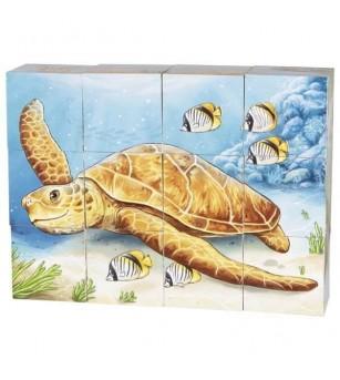 Puzzle cuburi Goki - Animale din Australia 12 piese - Jucării de lemn si Montessori