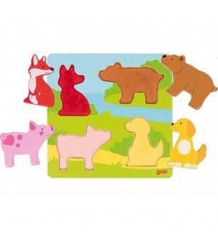 Puzzle senzorial din lemn Goki - Animale - Puzzle-uri