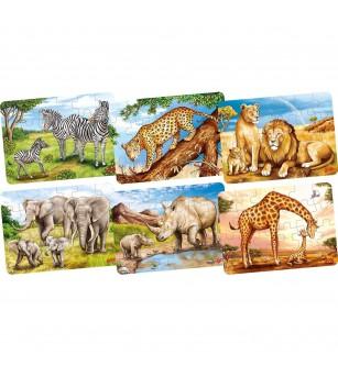 Set 6 puzzle-uri lemn Goki - Animale din Africa - Puzzle-uri