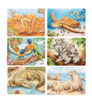Set 6 puzzle-uri lemn Goki - Animale din Australia - Puzzle-uri