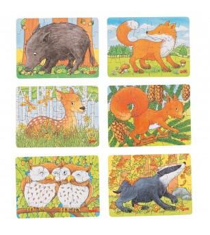 Set 6 puzzle-uri lemn Goki - Animale din padure - Puzzle-uri