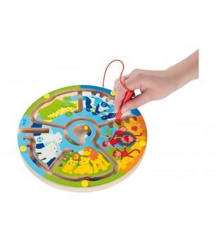 Labirint magnetic din lemn Goki - Numeram in gradina zoologica - Jucării de lemn si Montessori